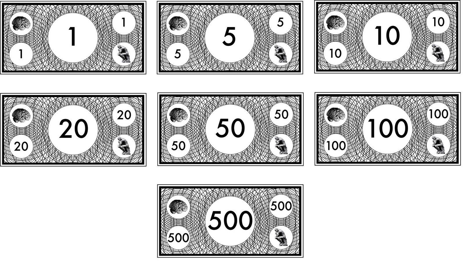Free Printable Monopoly Money Black And White – Play Money Template