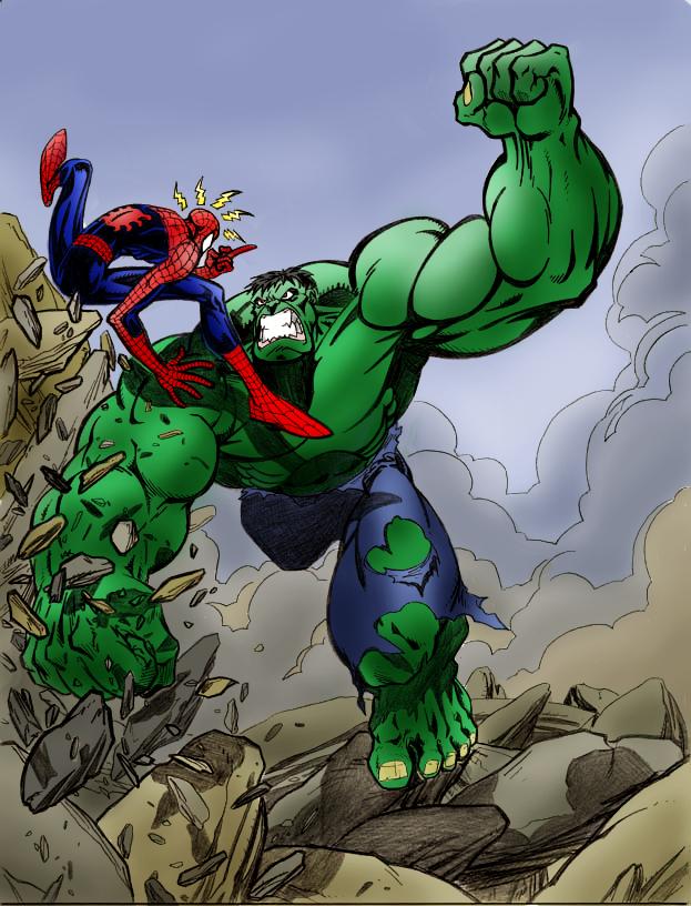 hulk fan art lakcoo2us spiderman vs hulk by kdub
