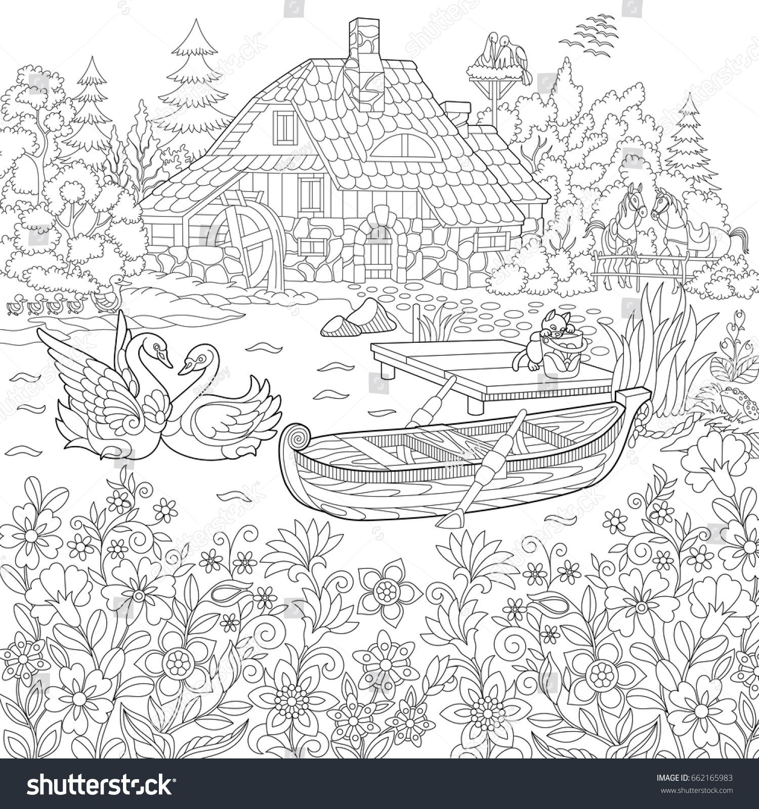 Coloring Book Page Of Rural Landscape Flower Meadow Lake Farm House Ducks Kitten Swans Horses Frog S Farm Coloring Pages Coloring Pages Coloring Books