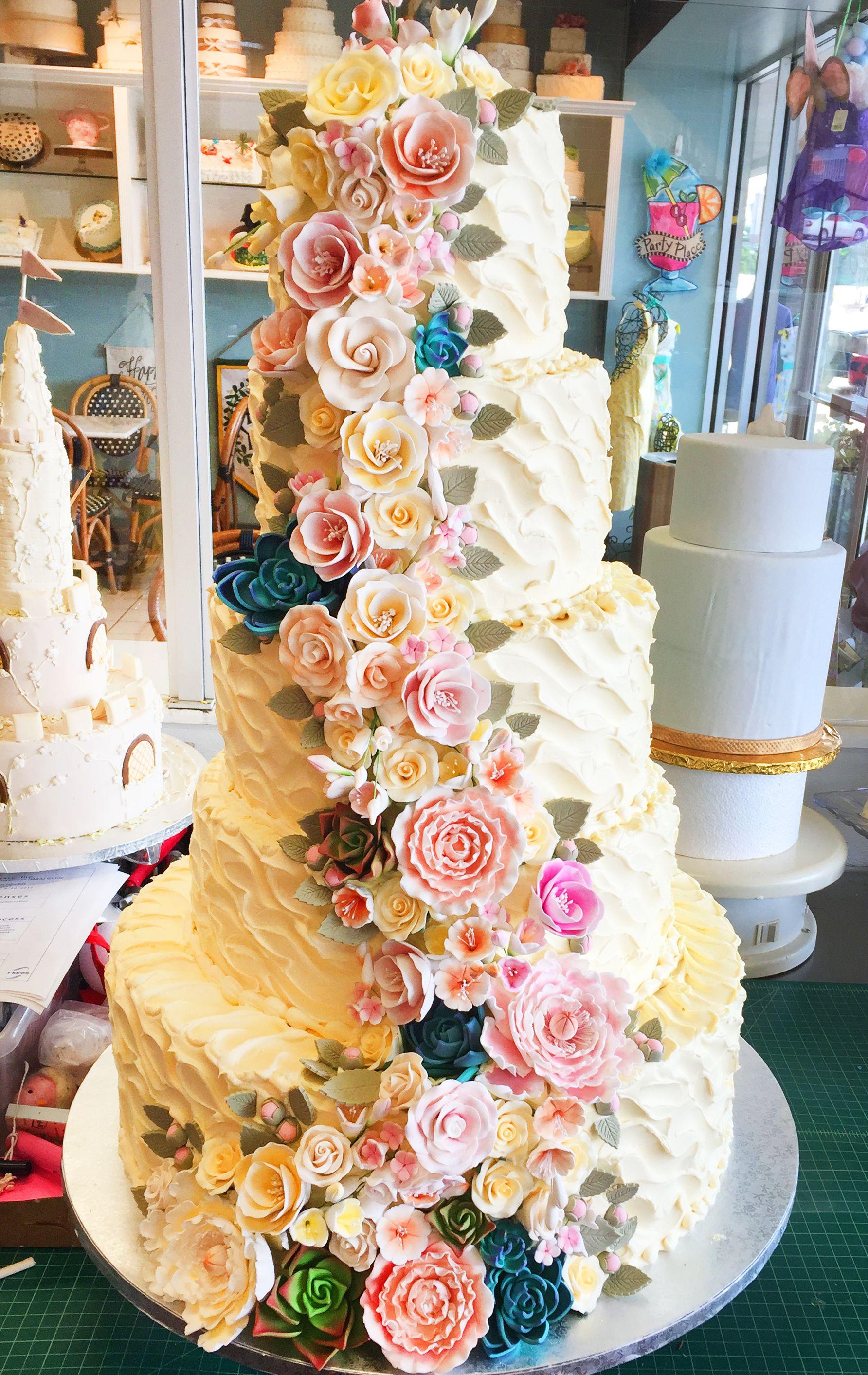 Pink And Cream Floral Cascade Wedding Cake