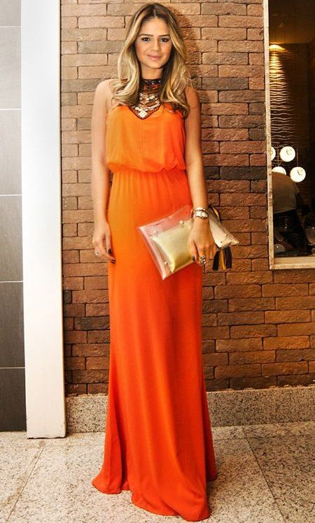 Elegant long orange prom dress 2014 with elastic waist and ...