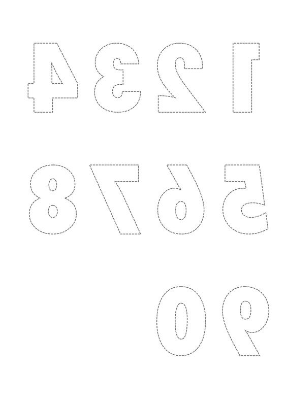 Free Printable Templates of reversed numbers and letters for card - numbers templates free