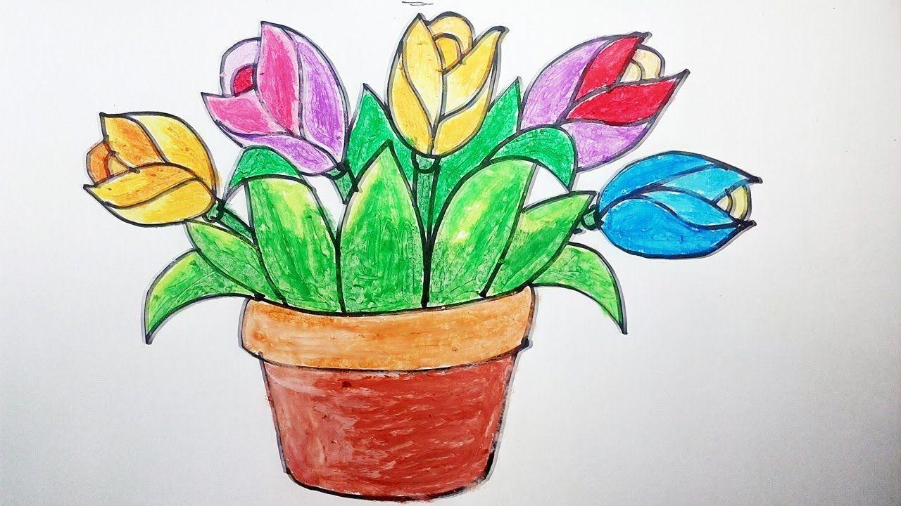 Menggambar Bunga Tulip Dalam Pot Dengan Oil Pastel Drawing Of Tulips In Bunga Tulip Gambar Pastel Menggambar Bunga