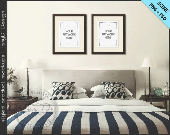 Bedroom Styled Interior 4 Set Of 2 Wood Frame Mockup 8x10 11x14