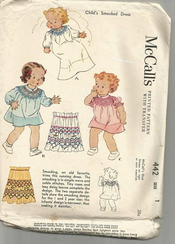 1930s Toddler Dress with Smocking Long or Short Sleeves and Lengths ...
