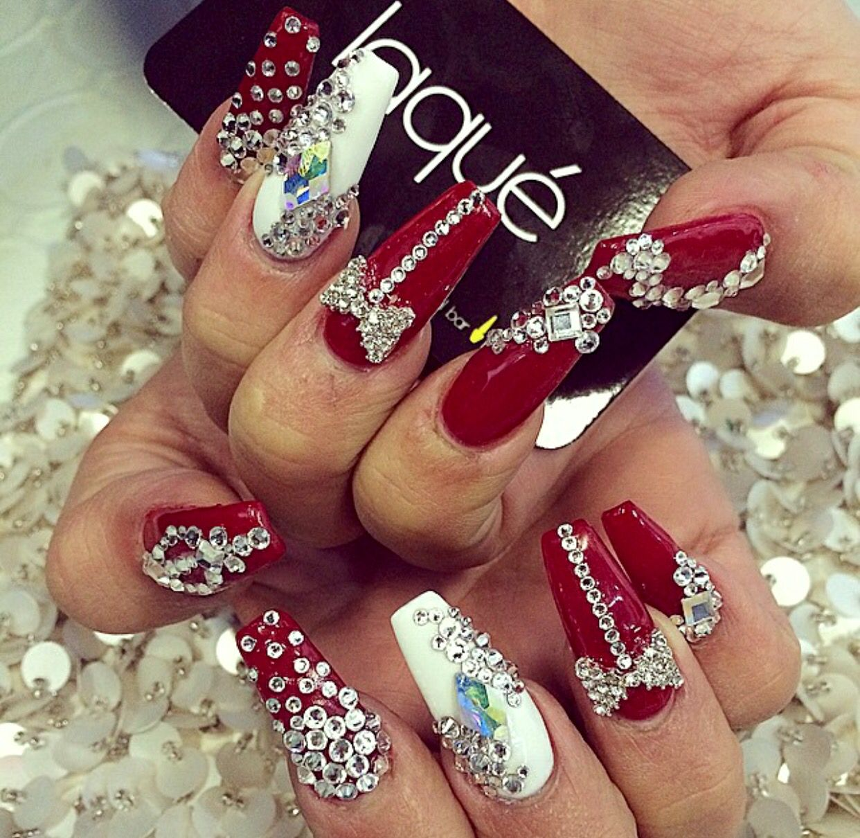 Red And White Coffin Design With Gems And Bows Bling Nails Red And Silver Nails Cute Acrylic Nails