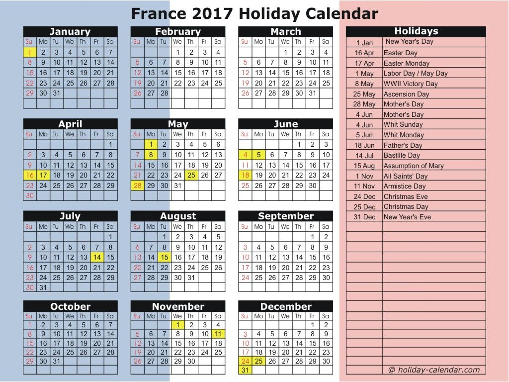 France 2019 / 2020 Holiday Calendar