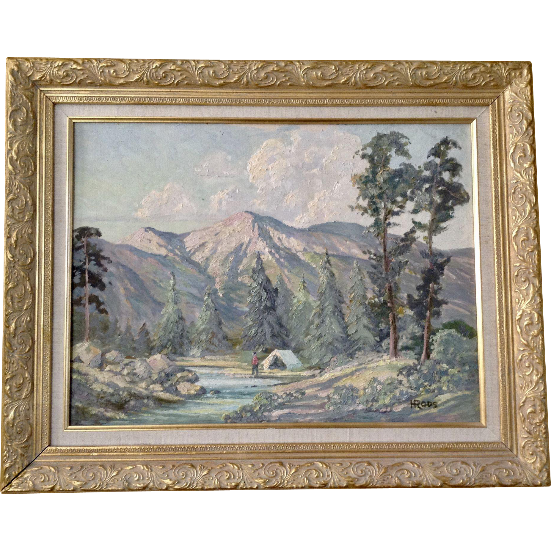 H Roos Impressionist Landscape Oil Painting Camping In Mountain Valley Signed By Artist Oil Painting Landscape Painting Impressionist Landscape