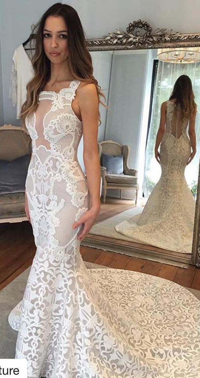 White lace long wedding dress wedding dress mermaid long