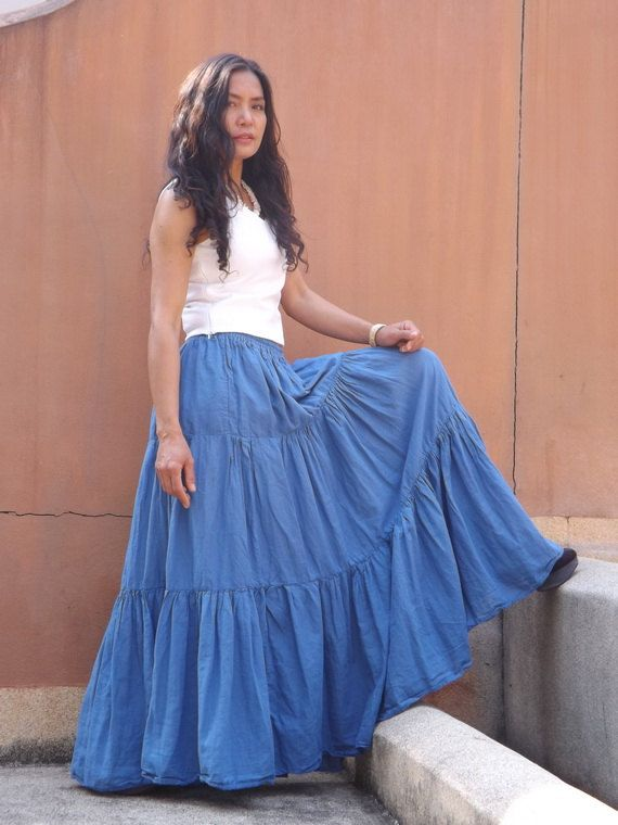 037a5f6f02 Long Skirt / Long Boho Skirt / Maxi Skirt / Full Length Skirt / Blue ...