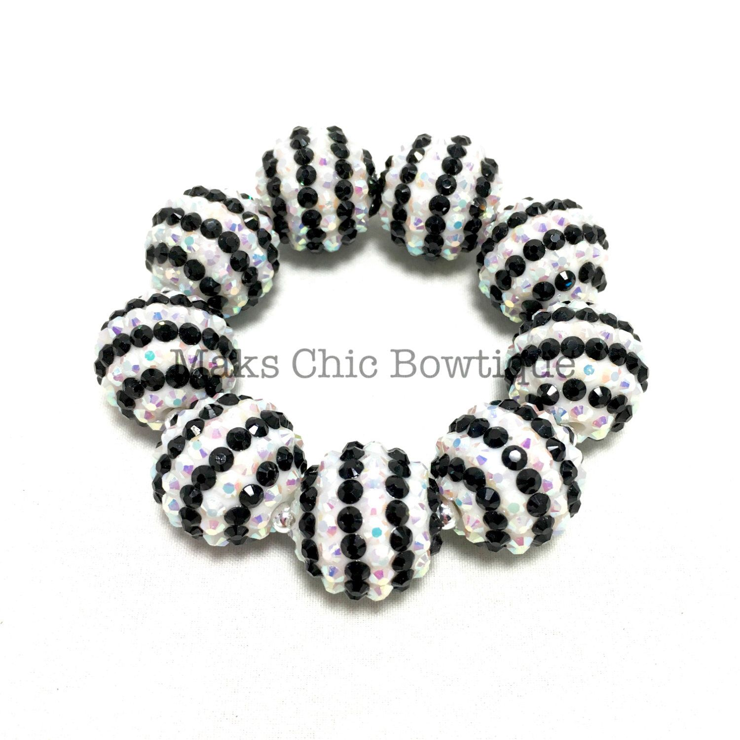Girls all bling black and white striped sparkle chunky bracelet