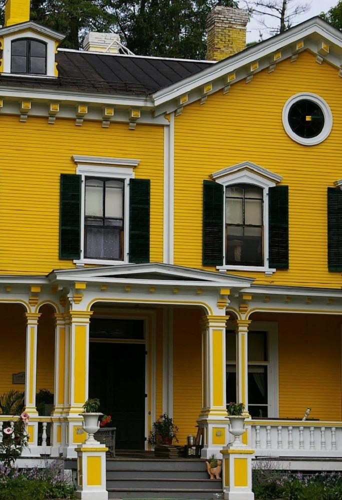 Bright Yellow White Black Exterior Color Schemes Exterior