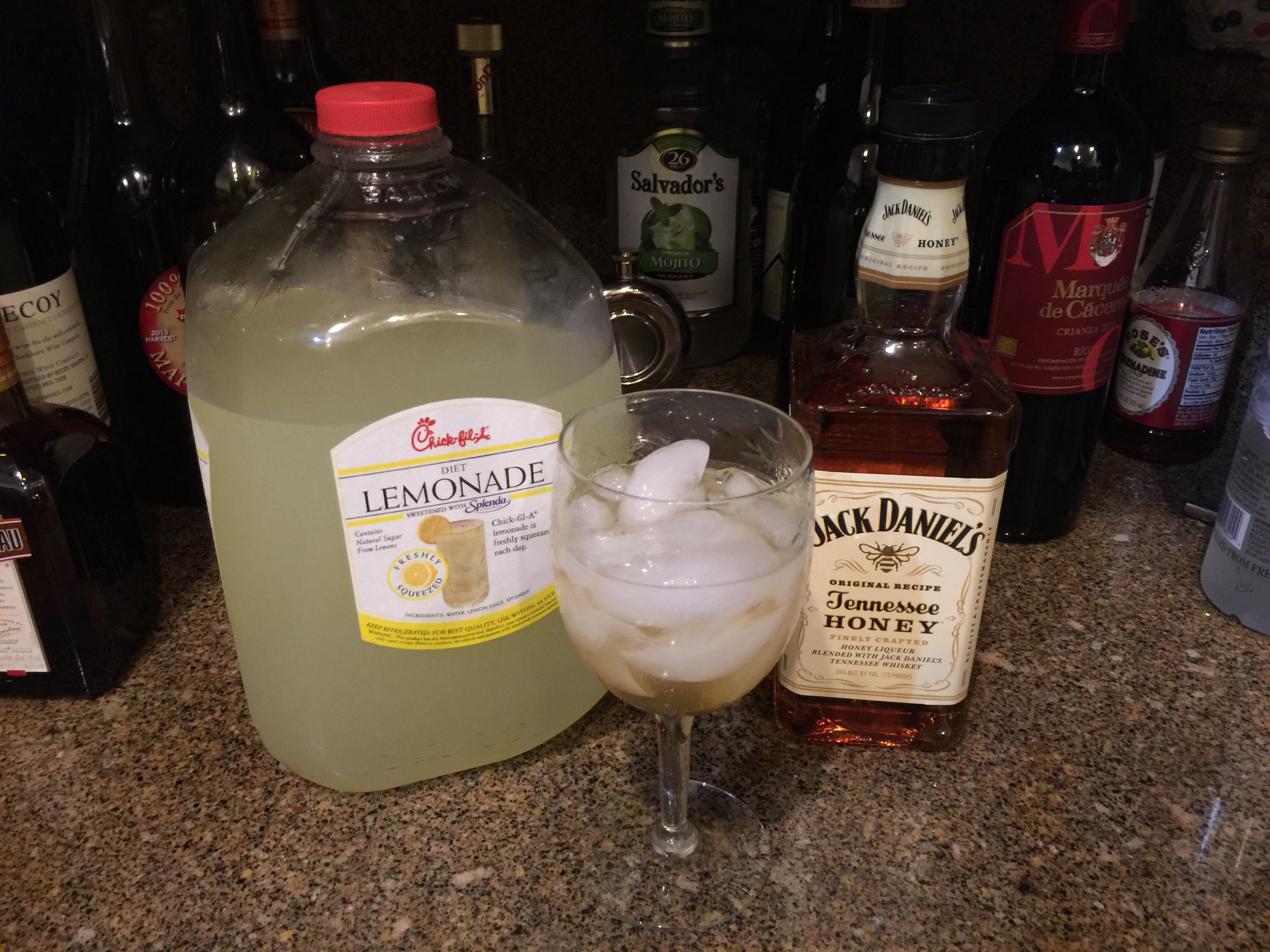 Diet Lemonade From Chick Fil A And Jack Daniel S Whiskey With Honey