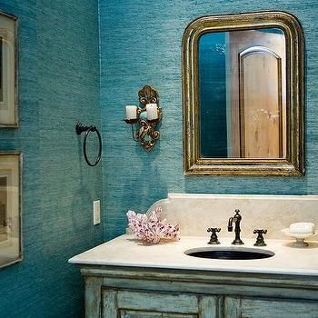 Powder Room with Turquoise Grasscloth Wallpaper, Cottage, Bathroom