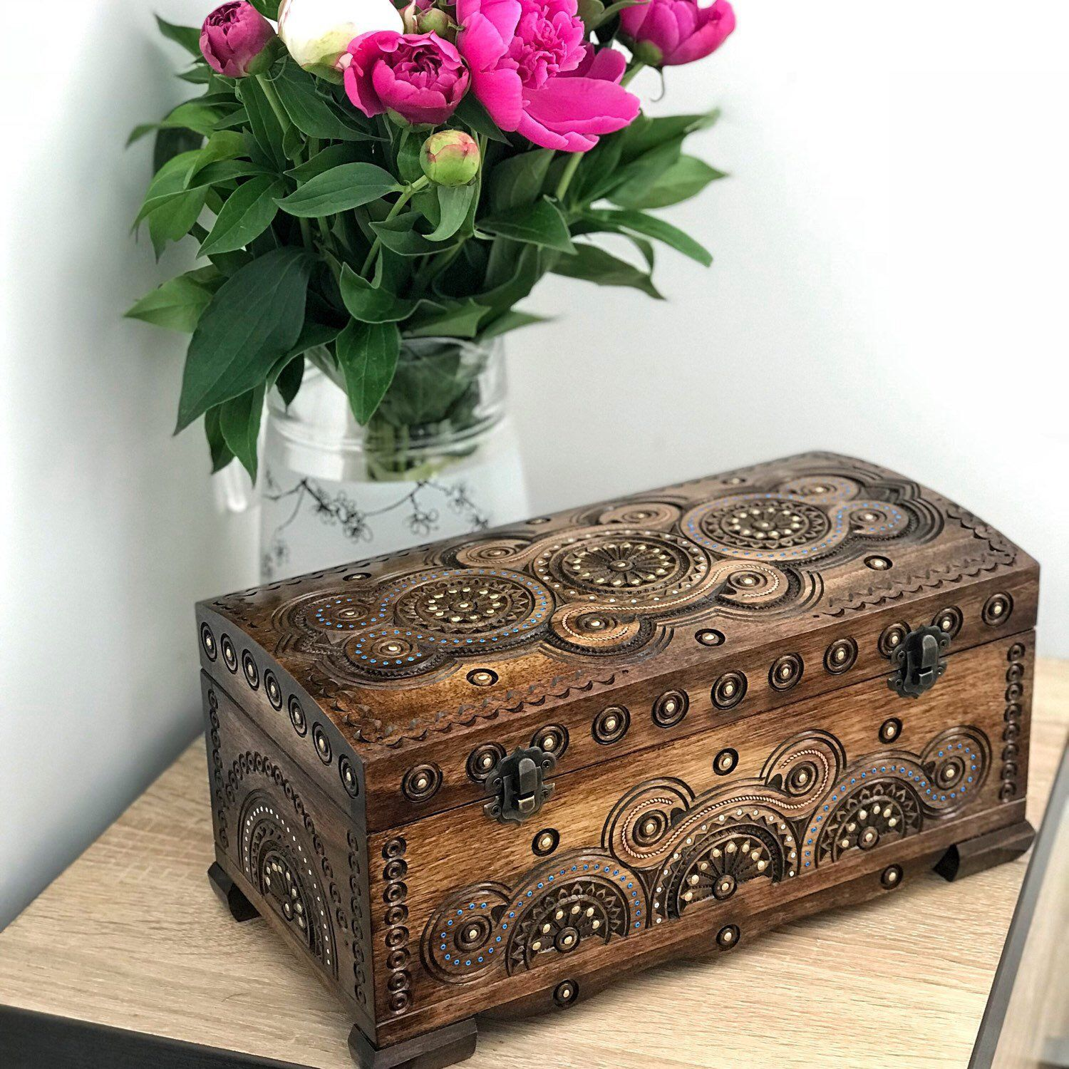 Jewelry box 5th anniversary gift Wooden gift Jewelry storage Wooden jewelry box Handmade wooden box Wood carving Gift for her Gift for wife