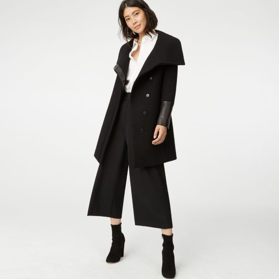 Soft and sleek. Leather details give a classic wool coat a cooler finish.  For everyday. Wool and lamb leather; lining: polyester … | Coats for women,  Coat, Clothes