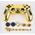 CrownTrade® PS4 Controller Chrome Shell Mod Kit + Matching Buttons set (gold)