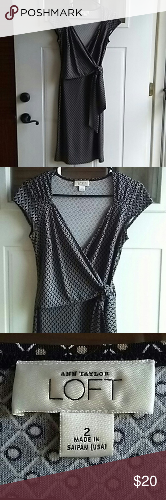 ANN TAYLOR LOFT DRESS SIZE 2 This is an easy to wear dress with interesting detailing on the top. It is made of wrinkle resistant fabric! LOFT Dresses