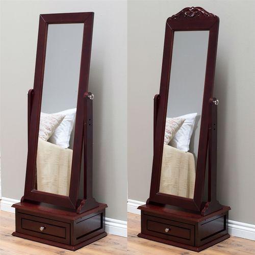 Exceptionnel Full Length Tilt Cheval Mirror, Cherry Wood Finish, Storage Drawer