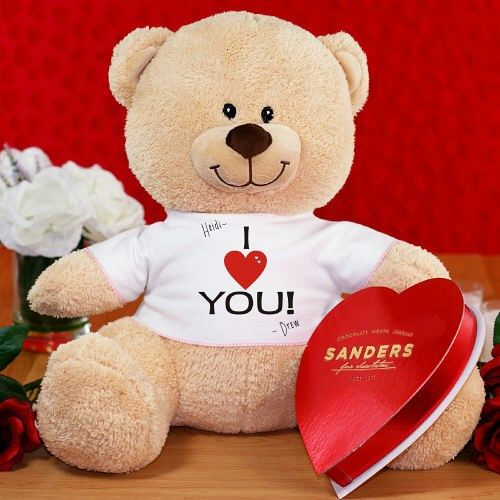 Personalized I Love You Teddy Bear With Chocolate Valentines Day Teddy Bear Teddy Bear Personalized Stuffed Animals
