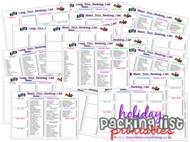 Holiday/Vacation Packing Lists The Purple Pumpkin Blog Pinterest