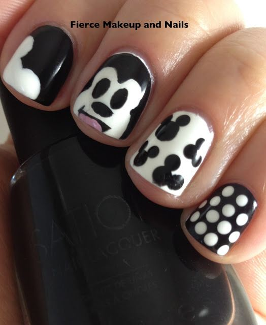 Fierce Makeup and Nails: TT: Mickey Mouse Mani (Black and White ...