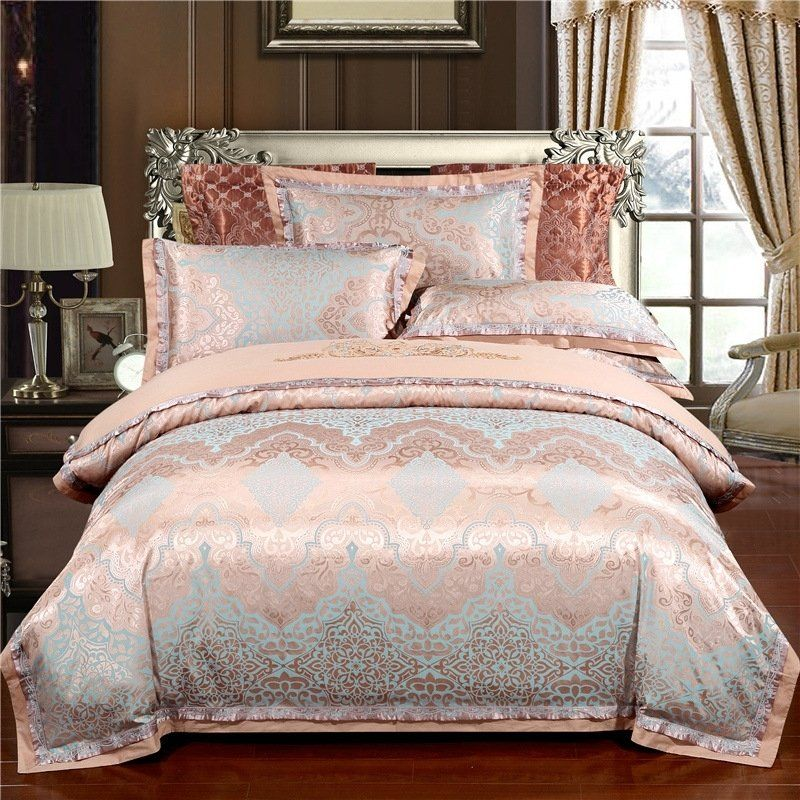 Rose Gold And Sky Blue Rococo Pattern Moroccan Bohemian Style Shabby Chic Classic Luxury Full Queen Size Beddin Bed Linens Luxury Bedding Sets Luxury Bedding