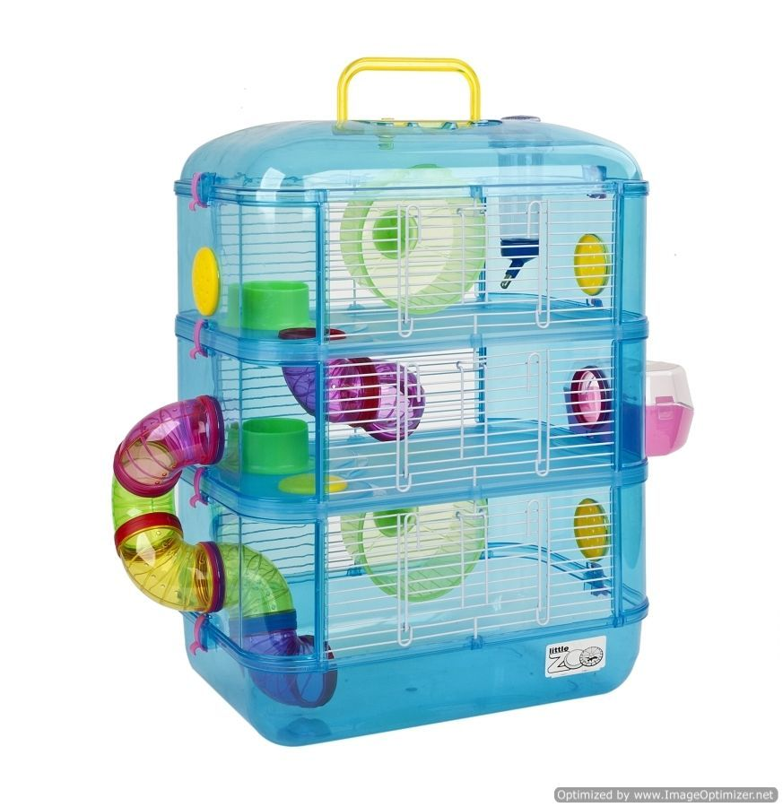 New Fantasia 3 Storey Heather Hamster Gerbil Mouse Cage In Blue Or Pink 4883 Small Animal Cage Hamster Cage Pet Cage