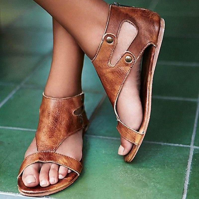 Shoespie Brown Rivets Heel Covering Flat Sandals Leather Sandals Summer Shoes Shoe Boots