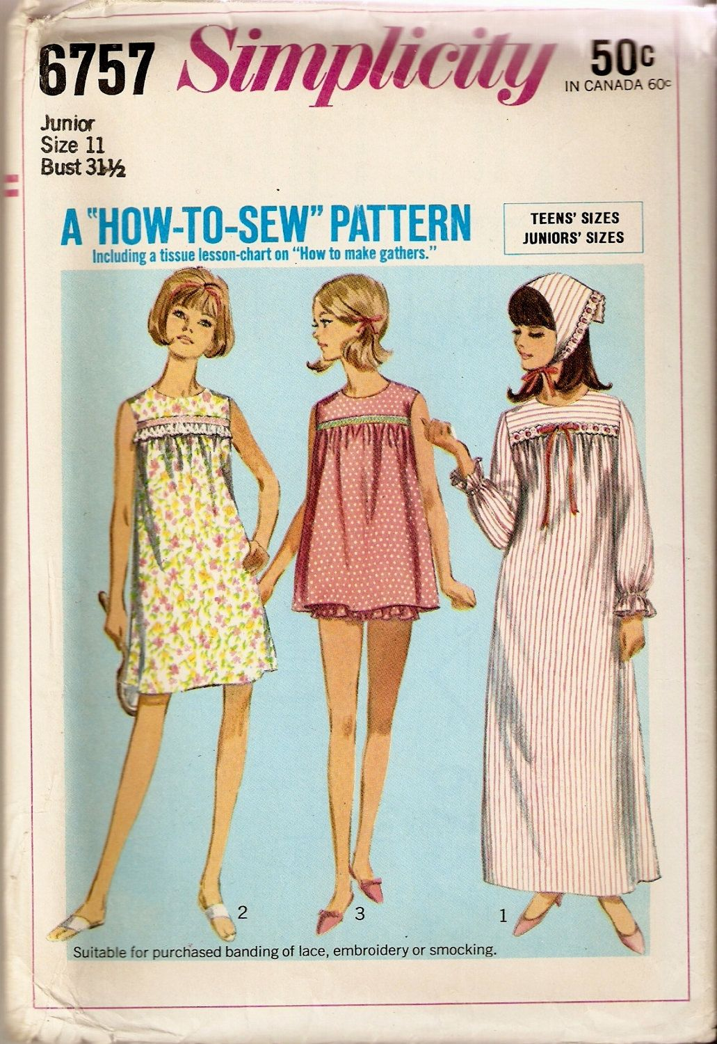 60s Nightgown Pajamas Baydoll Sewing Pattlern 1960s Lingerie Pattern ...