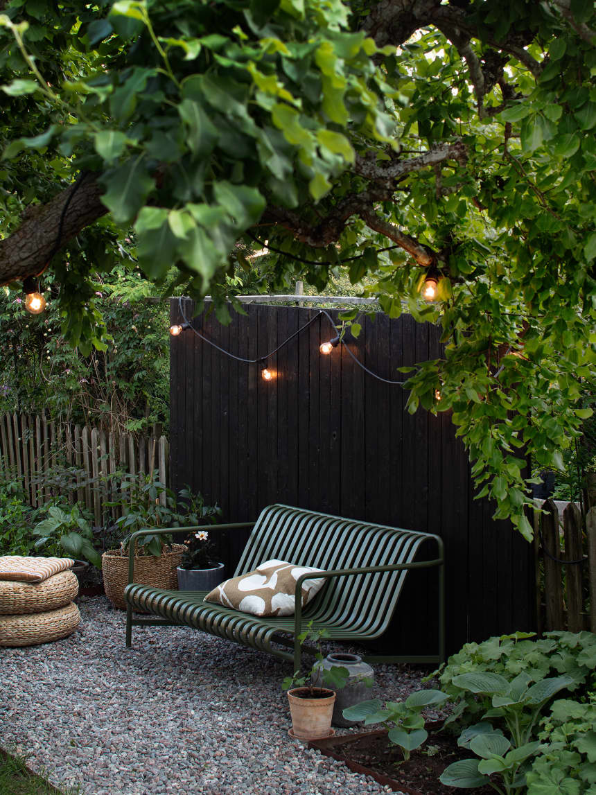 Every Inch of This Swedish Home Is Full of Scandinavian Design Inspiration is part of Backyard landscaping designs, Outdoor pergola, Scandinavian garden, Outdoor gardens, Garden design, Hay outdoor furniture - Blogger Janniche shares her Swedish home with her partner and their three kids (plus two cats), and she also runs the popular blog, Blogga i Bagis