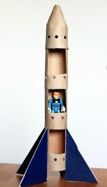 Bastelspielzeug aus Pappe, Bastelkarton, Spielzeugrakete #håndarbejde