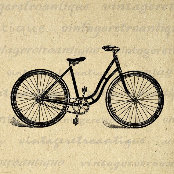 Digital Graphic Antique Bicycle Download Bike Clip Art Printable ...