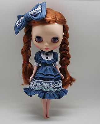 Takara-12-Blythe-Doll-Factory-Outfit-blue-dress-and-hairpin-2-pcs-free-shipping