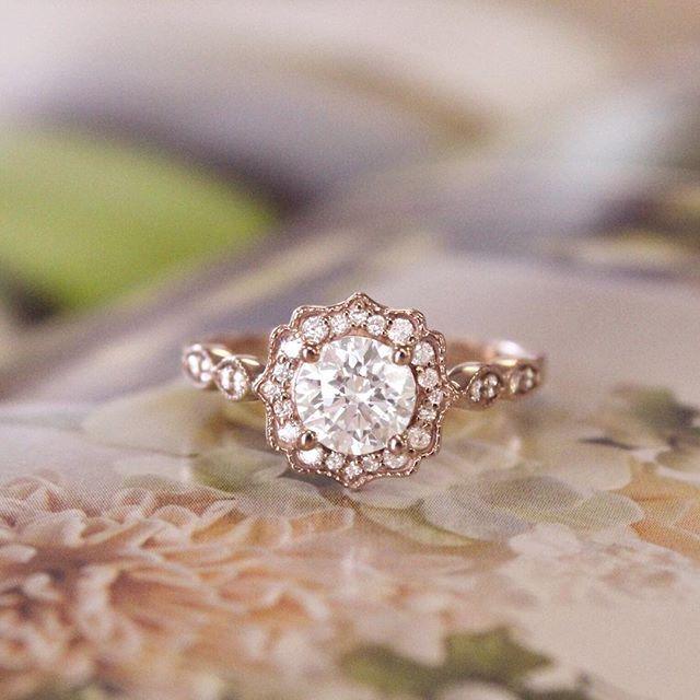 14k Rose Gold Cadenza Halo Diamond Ring Vintage Gold Engagement Rings Vintage Engagement Rings Engagement Rings