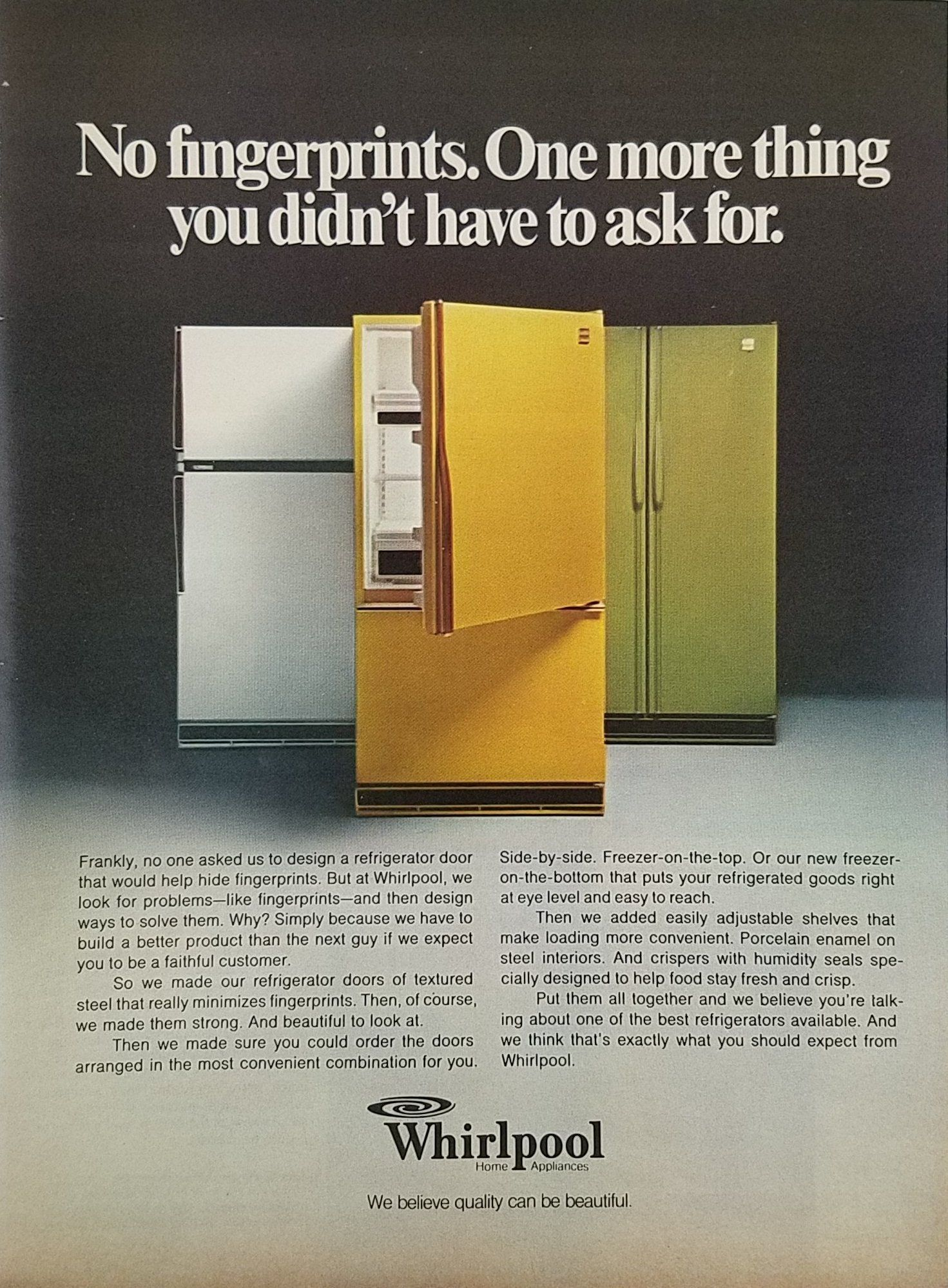 1977 Whirlpool Refrigerators Vintage Ad White Gold Almond