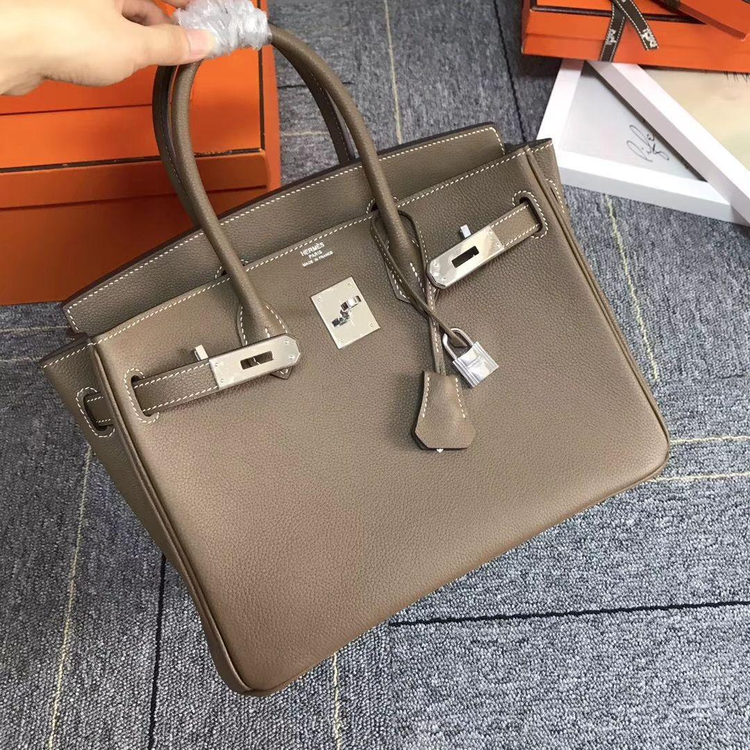 53cd28cd3780 Hermes Birkin 30 Etoupe Bag - Togo Leather 2