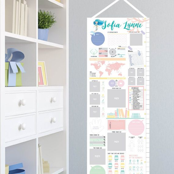 Our little one grows up so fast and you won   miss also interactive growth chart new baby mermaid nursery canvas rh pinterest