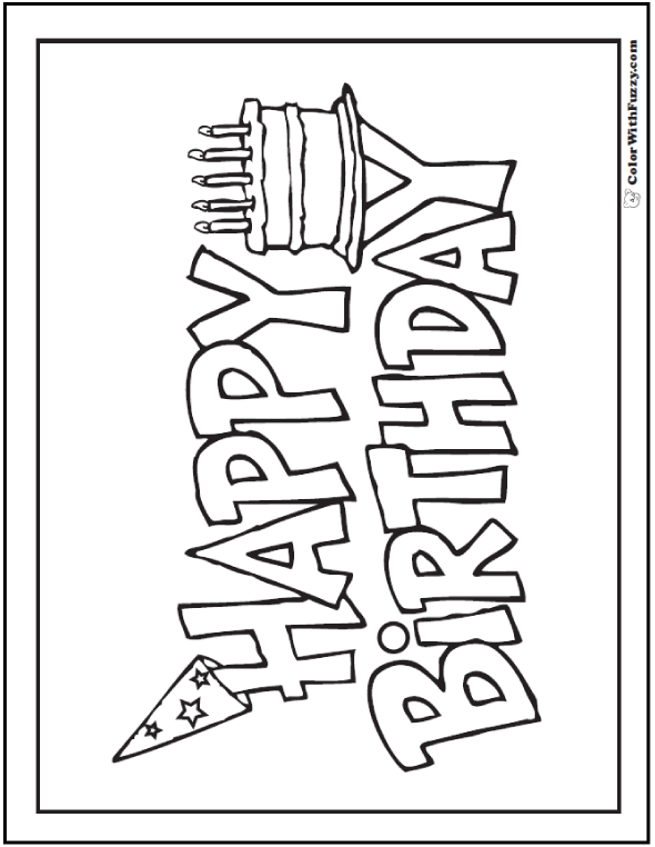 Birthday Coloring Pages Pdf : Birthday coloring pages customizable pdf cake