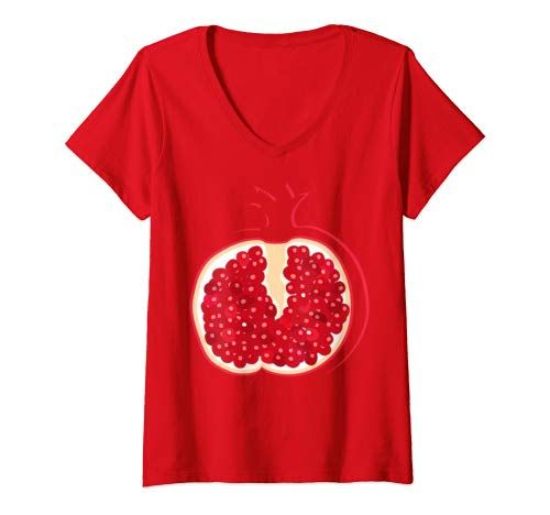 Womens Big Pomegranate Sliced Costume Cute Easy Halloween Gift V Neck T Shirt Women #area51partyoutfit