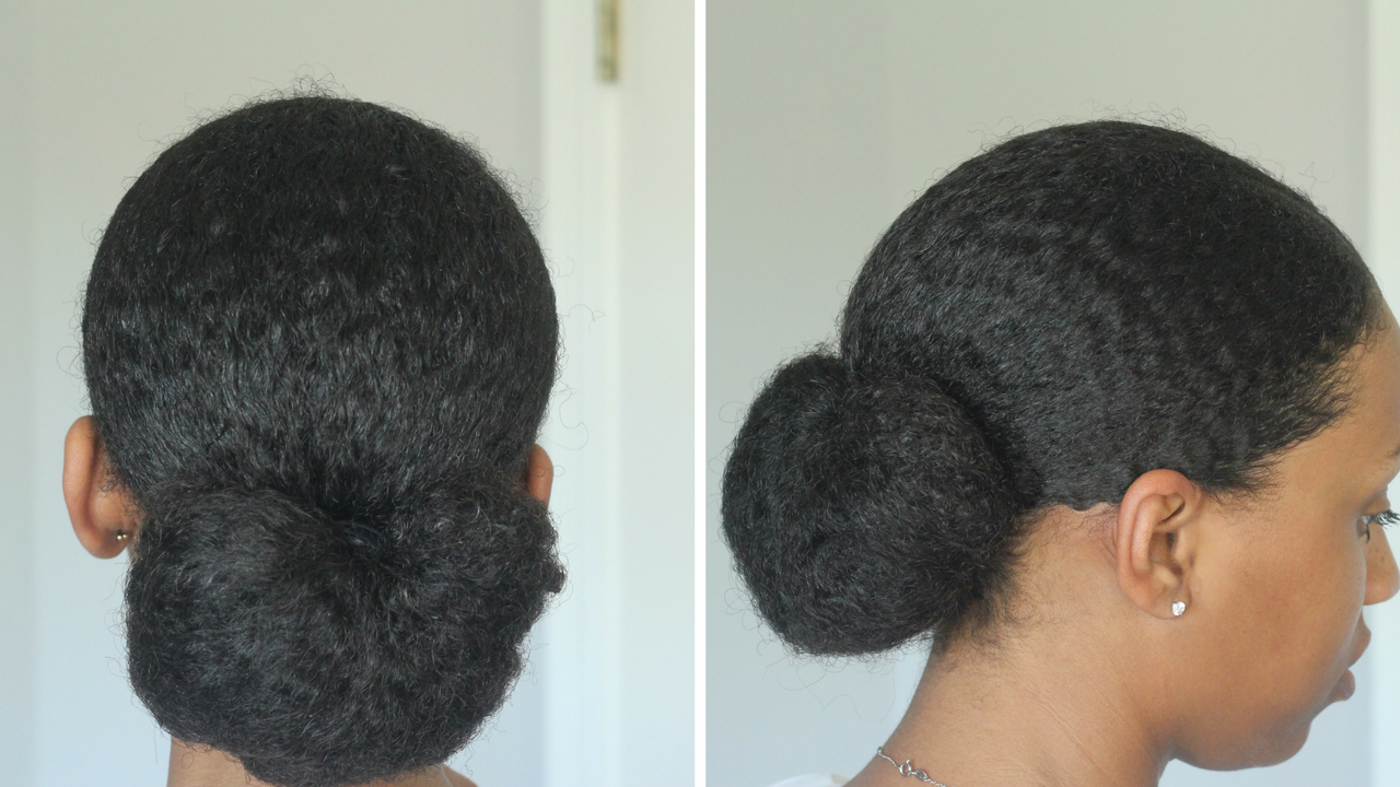 sleek low bun on natural hair (With images) | Natural hair bun ...
