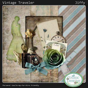 Vintage Traveler - Jiffy Kit - digital scrapbooking