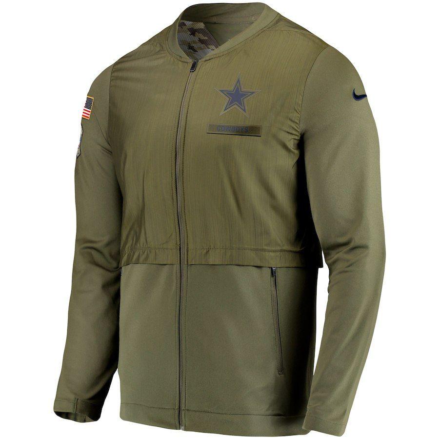 81a02496ac93 Men s Dallas Cowboys Nike Olive Salute to Service Sideline Elite Hybrid  Full-Zip Jacket. Size XL