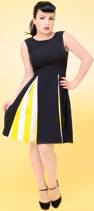 contrasting fabric livens up a simple pleated skirt