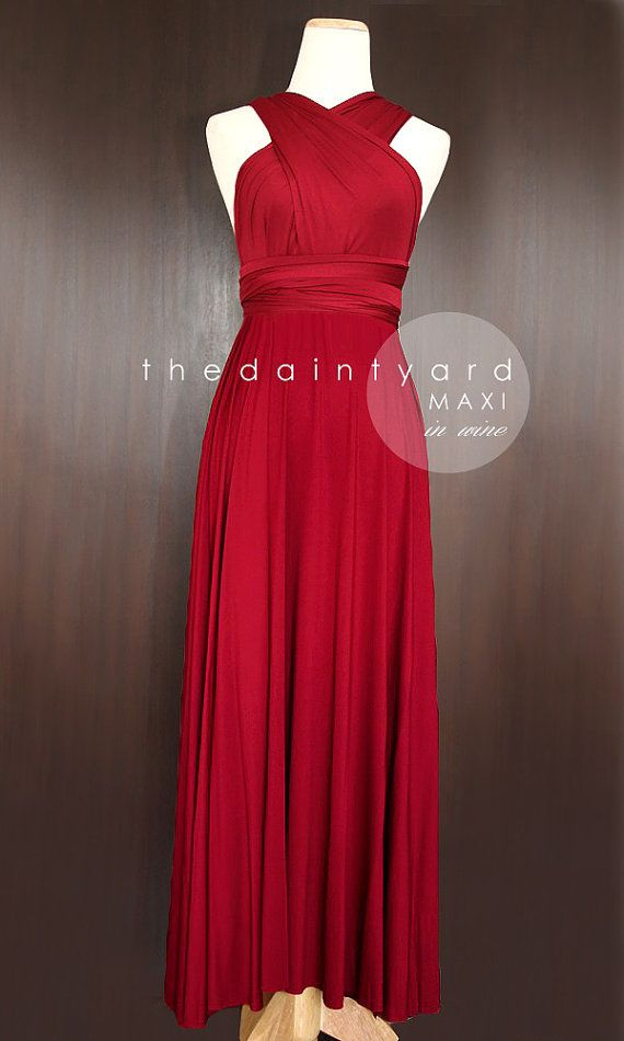 a570e14a1d0 MAXI Wine Red Bridesmaid Convertible Infinity Dress Multiway Wrap  Maroon