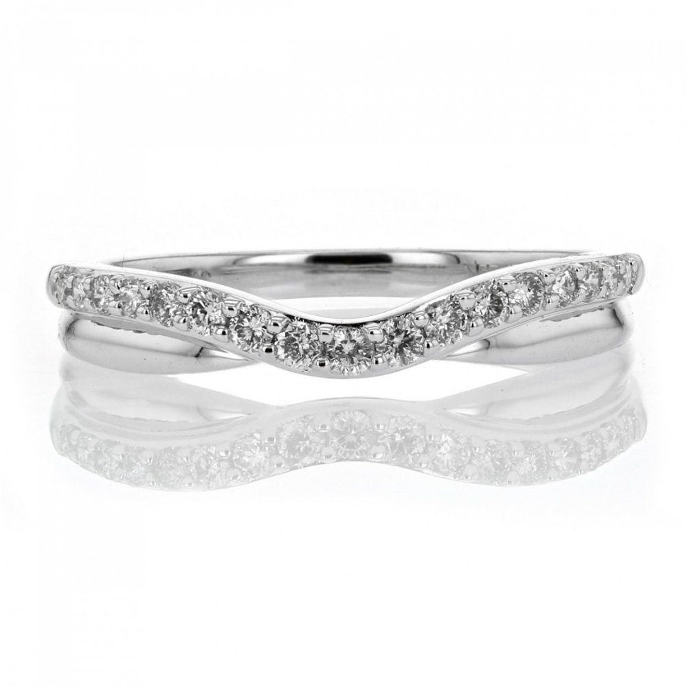 White Gold Curved Band with Diamonds Diamond anniversary