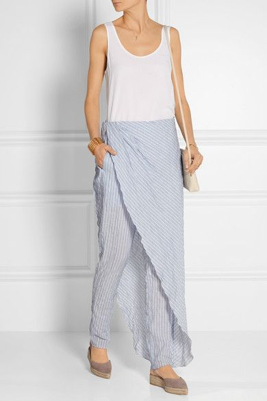 Baja East | Layered striped cotton-blend tapered pants | NET-A-PORTER.COM