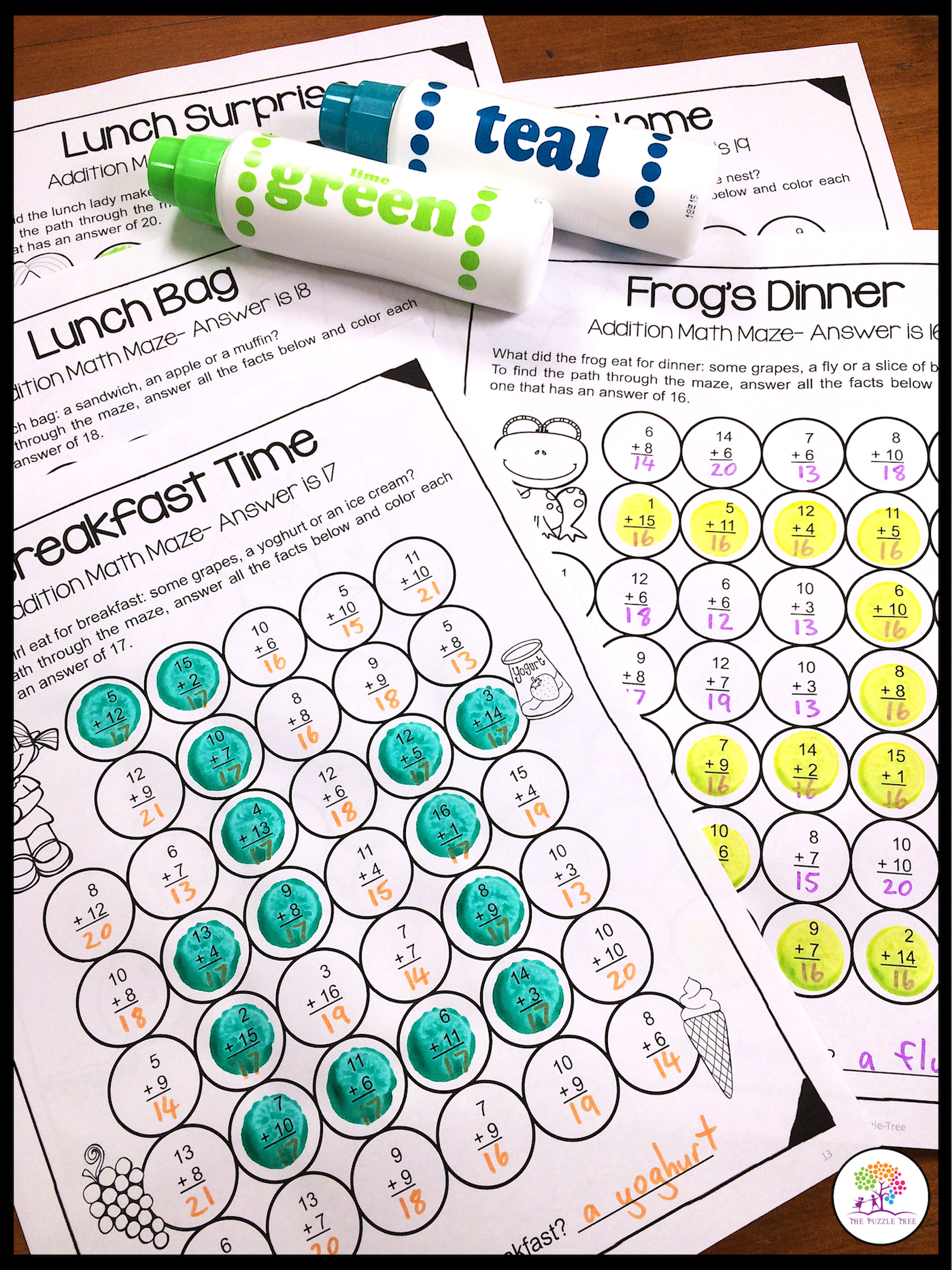 First Grade Math Worksheets For Addition Fact Fluency