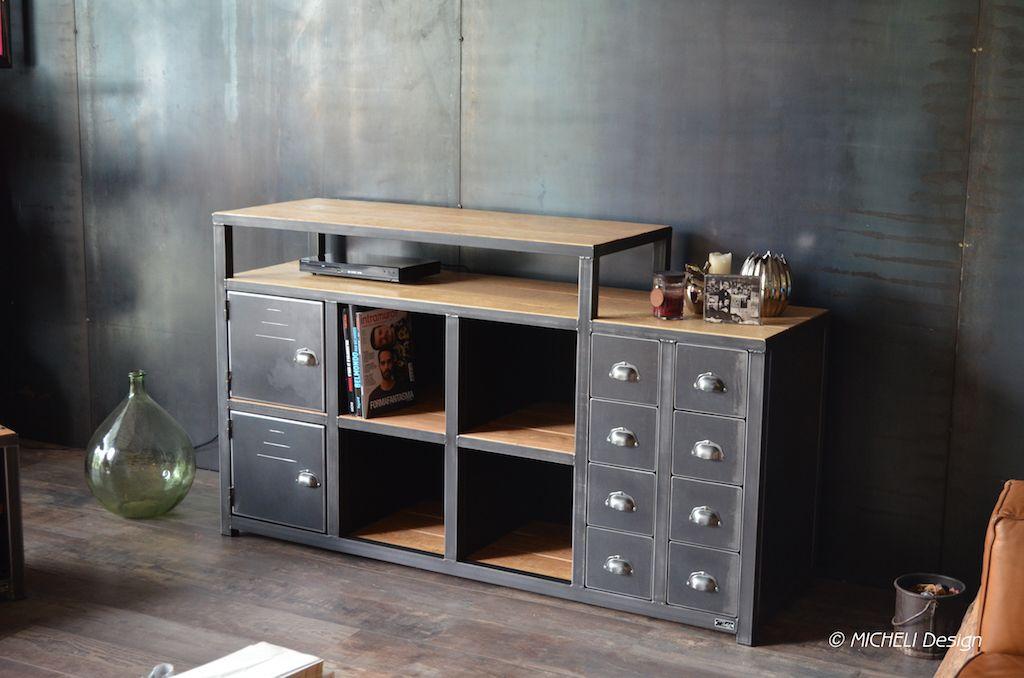 304Meuble-Tv-Avec-Rangement-Cd-Dvd-Vinyles-Style-Industriel-Bois