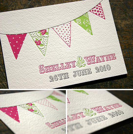 Beautiful bunting summer fete wedding invitations Wedding
